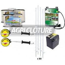 Kit clôture électrique 1 hectare pour chevaux. Electrificateur secteur 230V, Ruban, Piquet, Portillon.