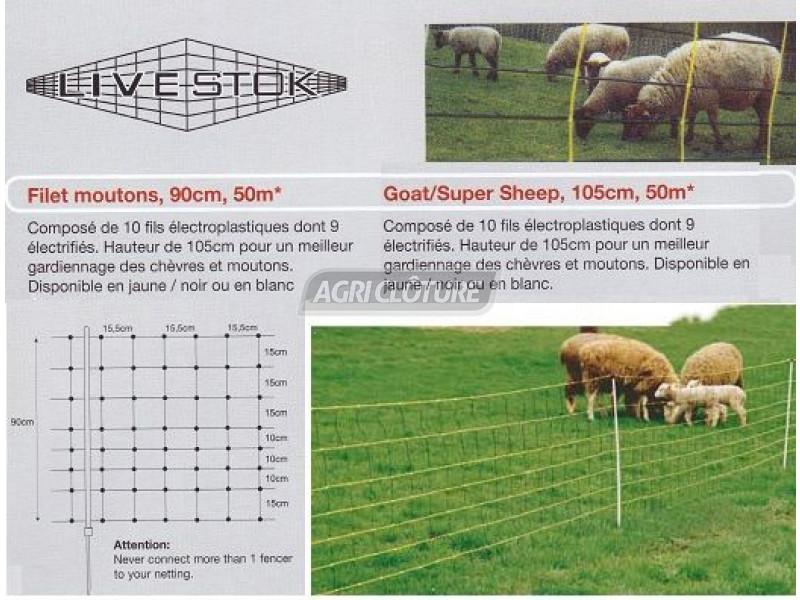 filet mouton avec piquet hauteur 90cm longueur 50 m tres. Black Bedroom Furniture Sets. Home Design Ideas