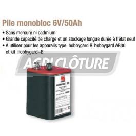 Pile monobloc 6V/50Ah pour électrificateur hobbygard B et equistop B