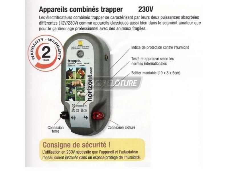 cl ture lectrique 230v mod le trapper n8 electrificateur secteur 230volts electrificateur. Black Bedroom Furniture Sets. Home Design Ideas