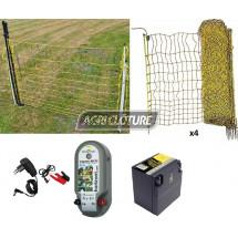 Kit clôture électrique 25 Ares pour volailles. Electrificateur mixte 12/230V, Batterie, filets, Portillon.