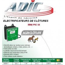 Electrificateur 0,6joules alimentation secteur 230v pour clôture MINI PIC 50