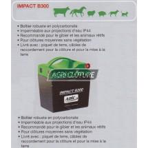 Electrificateur 0,3joules alimentation pile 9v et batterie 12v pour clôture IMPACT B300