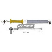 Kit portillon à ressort de 0,5 à 5 mètres avec poignée jaune et isolateurs.