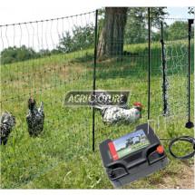 Kit clôture électrique 25 Ares pour volailles. Electrificateur secteur 230V, filets, Portillon.